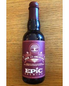 "EPIC BREWING COMPANY ""OAK & ORCHARD""  SOUR w/CHERRY, BLACKBERRY & BLACK CURRANT AGED IN OAK BARRELS,"
