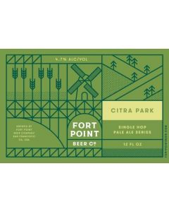 """FORT POINT BREWERY """"CITRA PARK"""" (3RD RELEASE) IPA SERIES-100% CITRA HOPS, 12oz, SAN FRANCISCO, CALIF"""
