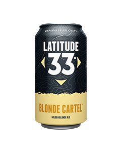 "LATITUDE 33 BREWING COMPANY ""BLONDE CARTEL"" GOLDEN BLONDE ALE, 12oz. (CAN)  VISTA, CALIFORNIA"
