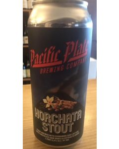"PACIFIC PLATE BREWERY ""HORCHATA STOUT"" STOUT w/ CINNAMIN, LACTOSE, CHOCOLATE & VANILLA EXTRACT, 16oz"